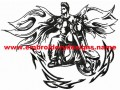 Angel tribal biker embroidery design