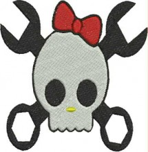 mechanic skull kitty free machine embroidery designs