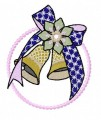 Christmas blue bow christmas bell machine embroidery design
