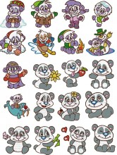 cute panda bear brother embroidery designs