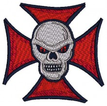 Biker Tribal Skull Embroidery Design