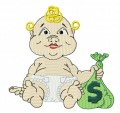 baby with money bag embroidery designs machine file