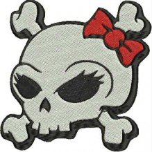 cute girly skull embroidery patterns to download embroidery design