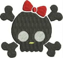cute bow skull download embroidery designs pes