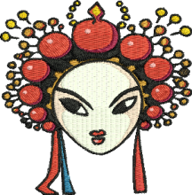 Cinese Queen Mask embroidery design