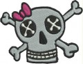 girly skull eyes bow crossbones free embroidery design ideas