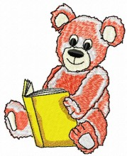 Reading teddy bear embroidery designs