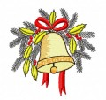 Ornamental christmas bell embroidery design